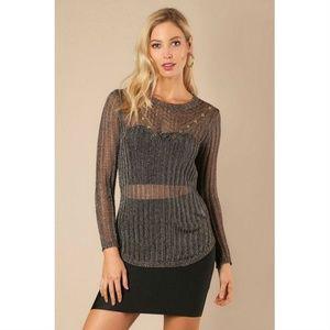 e5e1a8c201 ... Long Sheer Metallic Sweater Top Crop ...